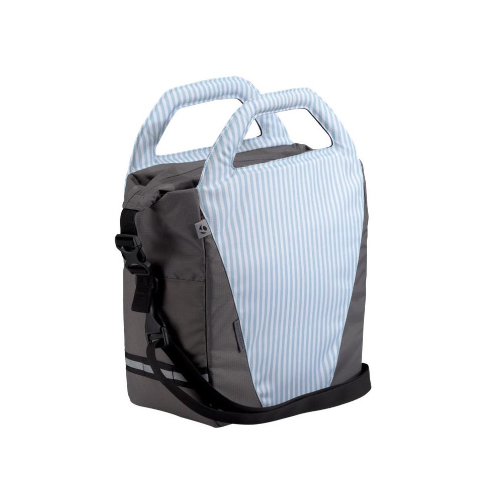 bontrager town shopper deluxe bag washed denim stripes