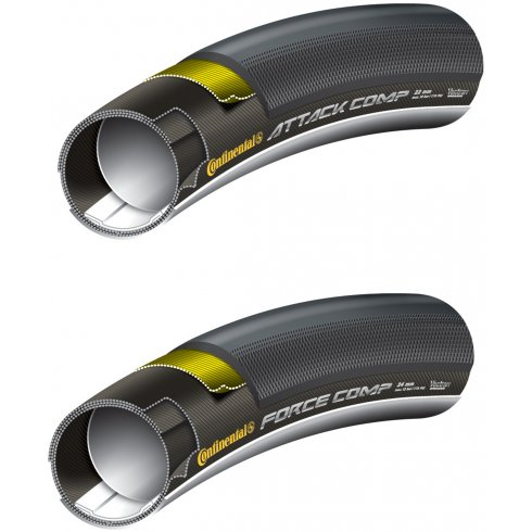 Continental Grand Prix Attack / Force Comp Set - Front and Rear Black Chili Tubular 700c Tyres
