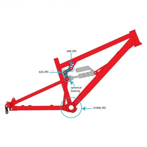 DMR Bolt Top Scissor Link Bearing - 698-2RS