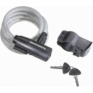 Kryptonite Keeper 1018 10mm x 180cm Key Coiled Cable Lock with Bracket