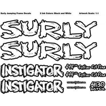 Surly Frame Decal Kit: Instigator - Complete inc. Headtube Badge